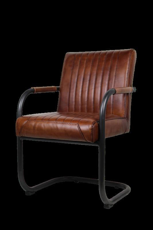 Arm Chair Nevada   Buffalo Cognac   Metal/buffalo Leather