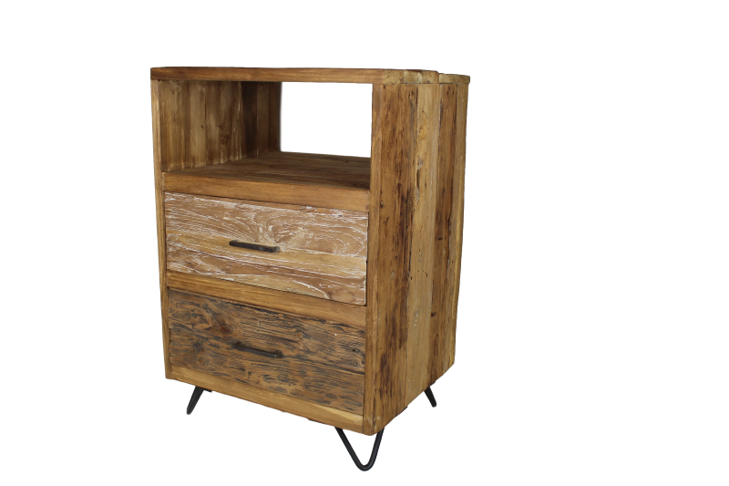 Natural Living Meubelen : Drawer chest with 2 drawers natural teak coffeetables