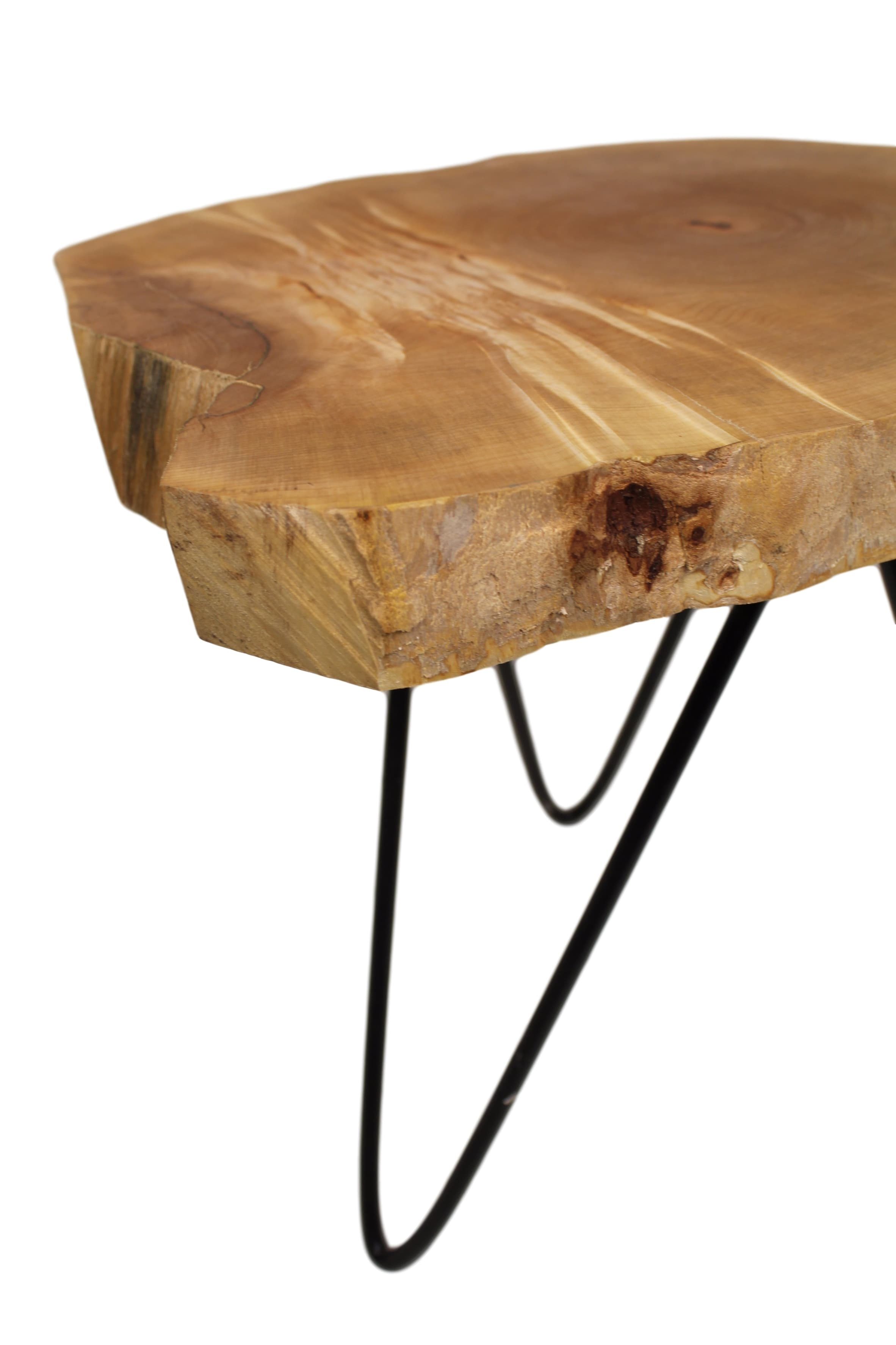Oak side table roxy with hairpin legs natural oil black for Table 52 petroleum