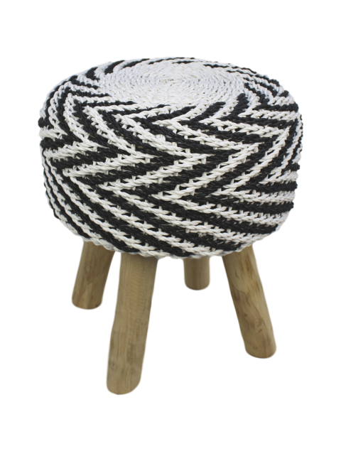 Pleasant Accent Stool Raffia Black White Small Furniture Pieces Creativecarmelina Interior Chair Design Creativecarmelinacom