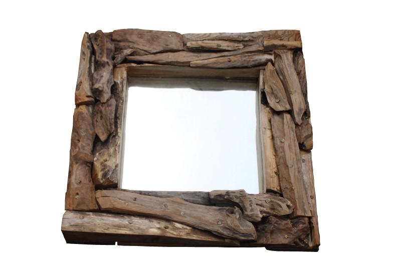 Spiegel 50x50 cm blank root hout glas spiegels for Spiegel 60x60