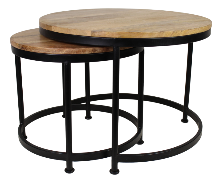 2 piece coffee table set steal large natural black for Coffee table 70 x 70