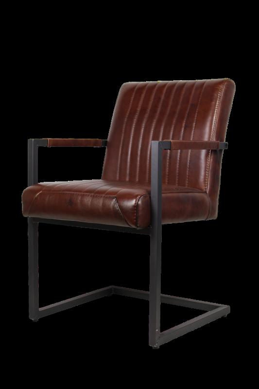Arm Chair Texas   Buffalo Cognac   Metal/buffalo Leather