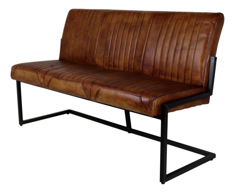 Dining bench texas cognac 145 cm metal buffalo leather