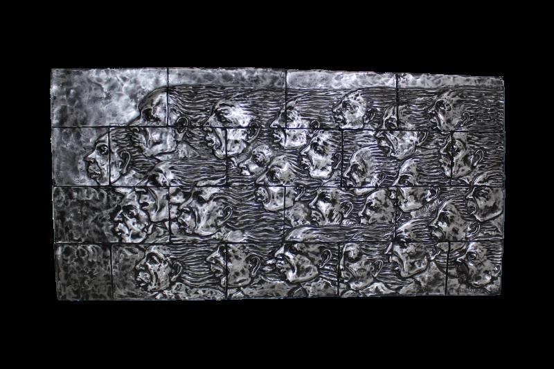 wanddecoratie gezichten zilveraluminium ijzer