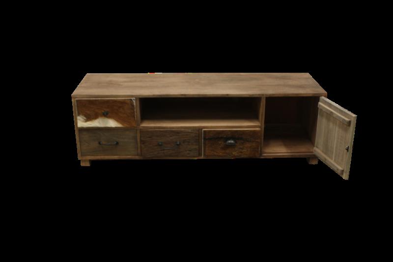 TV-dressoir Texas - bio colour/dark teak - mix hout/dierenhuid